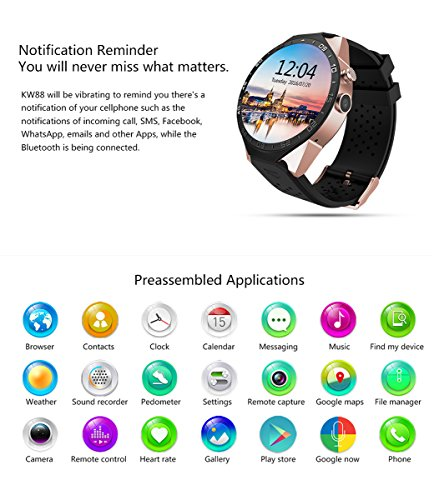 3G Smart Watch, Android 5.1 OS, Quad Core 2.0MP Camera Bluetooth Nano SIM Card Soket WiFi GPS Heart Rate Monitor (Black+Silver) by Kingwear (Image #3)