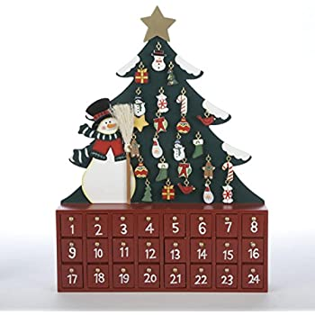 15 decorative wooden snowman with tree christmas advent calendar - Wooden Christmas Advent Calendar