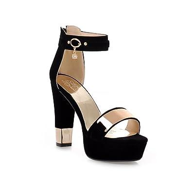 fdef690957ee GATUXUS Women Open Toe Platform Strap High Heel Shoes Sandals Pumps (5 B(M