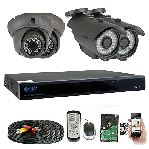 GW Security 8 Channel HD 2592TVL Outdoor/Indoor CCTV Video System with (4) 5MP 1920P Security Cameras with Pre-Installed 2TB HD, Motion Email Alert, Smartphone& PC Easy Remote Access (Black)