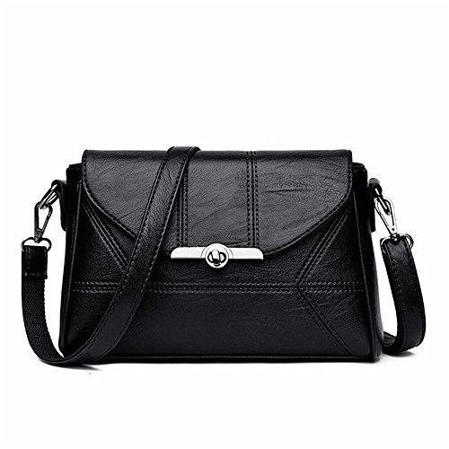 Leather Bag Square Retro Black Pu Soft Lock Simple Messenger Shoulder Leisure Bag qwazBt1