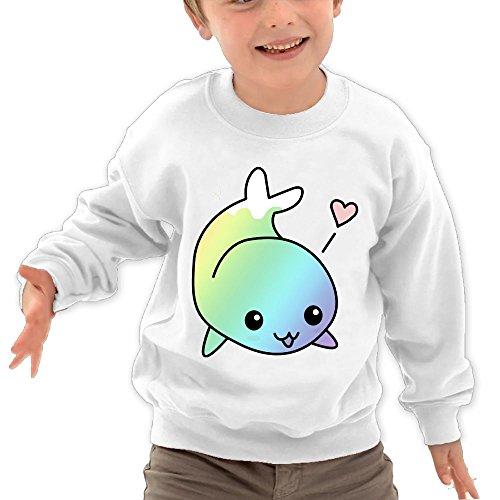 Puppylol Cute Rainbow Whale Kids Classic Crew-Neck Pullover Sweatshirt White 5-6 Toddler