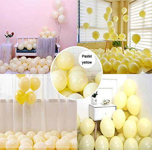 Party Pastel Balloons 100 pcs 10 inch Macaron Candy Colored Latex Balloons for Birthday Wedding Engagement Anniversary Christmas Festival Picnic or any Friends & Family Party Decorations-pastel - Inch Yellow 12 Latex Balloons