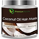 Coconut Oil Hair Mask 8 oz 100% Natural Hair Care Treatment - Intensive Repair, Restores Shine & Nourishes Scalp, By Premium Nature
