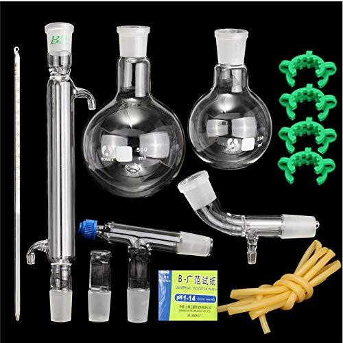 13pcs 500ml 24/40 Joint Glass Distillation Equipment Essential Oil Extraction Distillation Apparatus Water Distiller Purifier Laboratory Chemistry Glassware Kits