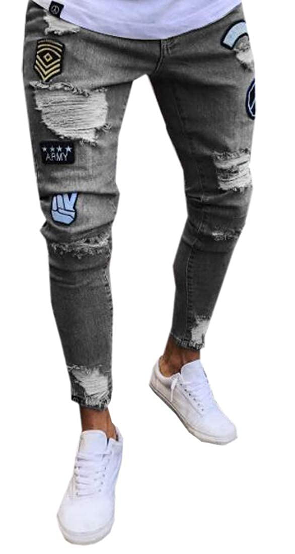 Pivaconis Mens Plaster Regular Fit Ripped Distressed Zip Trim Pencil Denim Jeans Pants