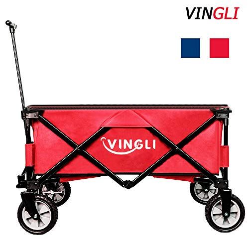 VINGLI Portable Collapsible Utility Wagon,Outdoor Folding Garden Sports Shopping Cart, Steel Frame for Beach Park Camping Patio Compact on Wheels (Red)