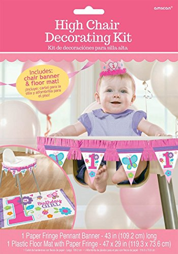 Flowers and Butterflies Girl's 1st Birthday Party High Chair Decorating Kit