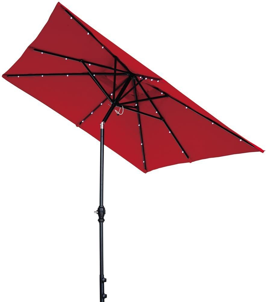 Abba Patio 9 x 7 Feet Rectangular Patio Umbrella Solar Powered 32 LED Lights Tilt Crank, Dark Red