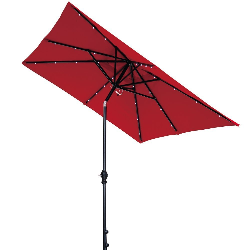 7 By 9 Ft Rectangular Solar Powered Aluminum Umbrella With
