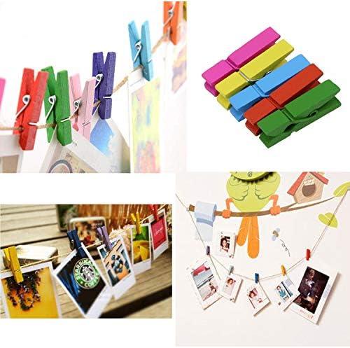 0,4 Centimetri Mini Naturale Clothe Clip di Legno della Carta Fotografica Peg Clip di Carta Fotografica Peg Molletta da bucato in Legno Craft Clip F-blue 100pcs 3.0