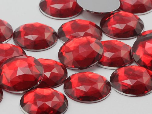 25mm Ruby H103 Flat Back Round Acrylic Jewels High Quality Pro Grade - 20 Pieces