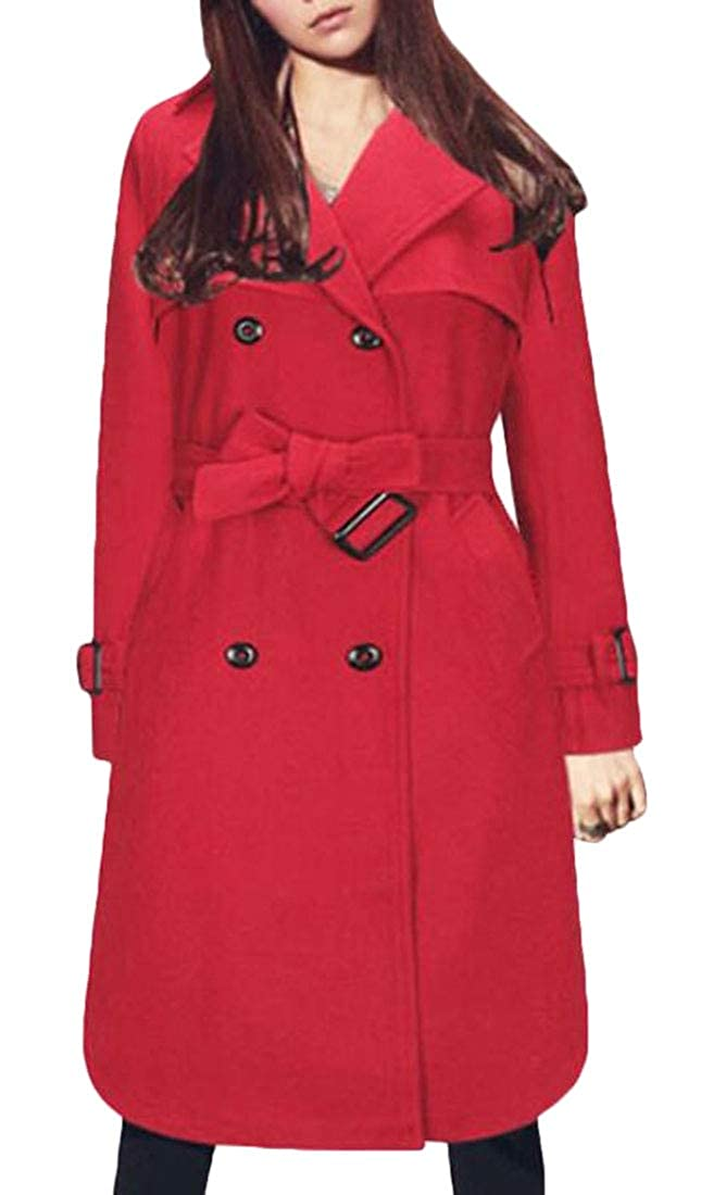 Keaac Women's Lapel Wool Blend Longline Double Breasted Coat Overcoat