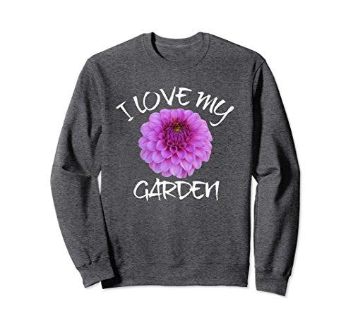 Unisex I Love My Garden Sweatshirt, Dahlia Bloom Sweatshirt Medium Dark Heather - Garden Bloom Sweater