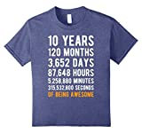 Kids 10th Birthday Gift T Shirt 10 Years Old Being Awesome Tee 10 Heather Blue