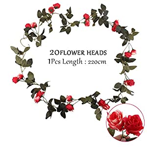 Flojery 2PCS/10.82FT Artificial Rose Flowers Fake Flower Garland Ivy Vine Green Leaves Home Wedding Garden Party Floral Decor 2