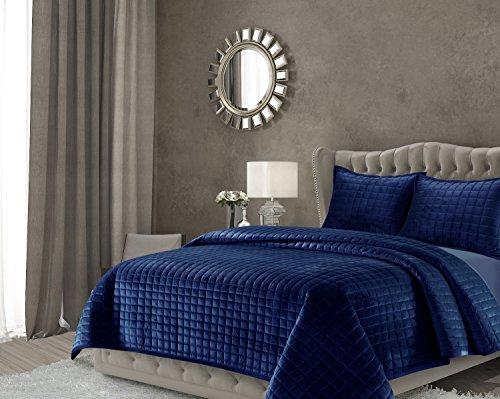 Tribeca Living FLORENCEQUIKINB Florence Velvet Oversized Solid Quilt Set, King, Navy Blue