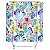 KANATSIU Cactus Plant Flower Spikes Design Shower Curtain 12 Plactic Hooks,100% Made Polyester,Mildew Resistant & Machine Washable,Width x Height is 60x72