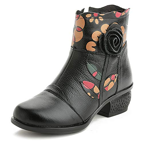 Gaslinyuan Blaumendruck Low Stiefel Damen Leder Zipper Soft Low Blaumendruck Heel Vintage Schuhe (Farbe   Schwarz, Größe   EU 39) a1fdd2