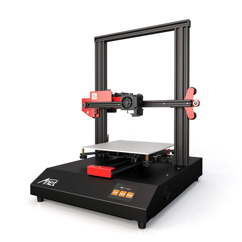 Leslaur Stampante 3D Anet ET4 Struttura del telaio in metallo Volume di costruzione 220*220*250 con touchscreen a colori da 2,8 pollici Heatbed 8G TF Card e 10 m PLA Supporto del filamento campione