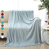 "ALPHA HOME Soft Throw Blanket Warm & Cozy for Couch Sofa Bed Beach Travel - 50"" x 60"", Light Blue"