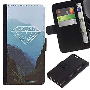 KingStore / Leather Etui en cuir / Apple Iphone 6 PLUS 5.5 / Montagnes Blue Green