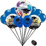 Veil Entertainment Hat off to the Graduate Grad Caps Bubble School Colors 9pc Balloon Pack, Blue