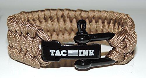 TAC INK Paracord Survival Bracelet with Black D Shackle, adjustable for wrist sizes 6