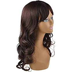 Vani® High Quality New Womens Dark Brown Long Full Curly Wavy Glamour Hair Wig Fashion with Wig Cap