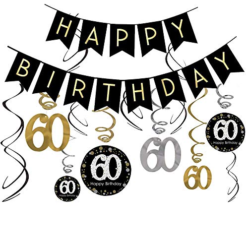 60th Birthday Decorations Kit- Gold Glitter Happy Birthday Banner & Sparkling Celebration 60 Hanging Swirls-60th Anniversary Decorations -