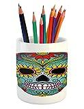 Ambesonne Sugar Skull Pencil Pen Holder, Folk Art Elements Featured Skull Day of The Dead Celebration Concept Print, Printed Ceramic Pencil Pen Holder for Desk Office Accessory, Multicolor