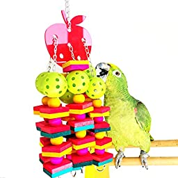 Rypet Bird Wood Chew Toy , Colorful Bird Cage toys for Medium to Large-sized Breeds Bird