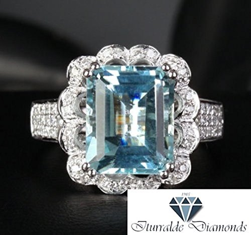 14k 9x11mm Emerald Cut Aquamarine Engagement Ring Diamond Pave Floral Motif Diamond Halo