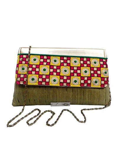 Pleated Silk Clutch (Bhamini Women's Pleated Raw Silk Clutch With Gold Touch Embroidery Multi-Color)