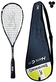 Browning Nanotec 120 Ti Raquette de squash Jaune 3 balles de squash Dunlop 300