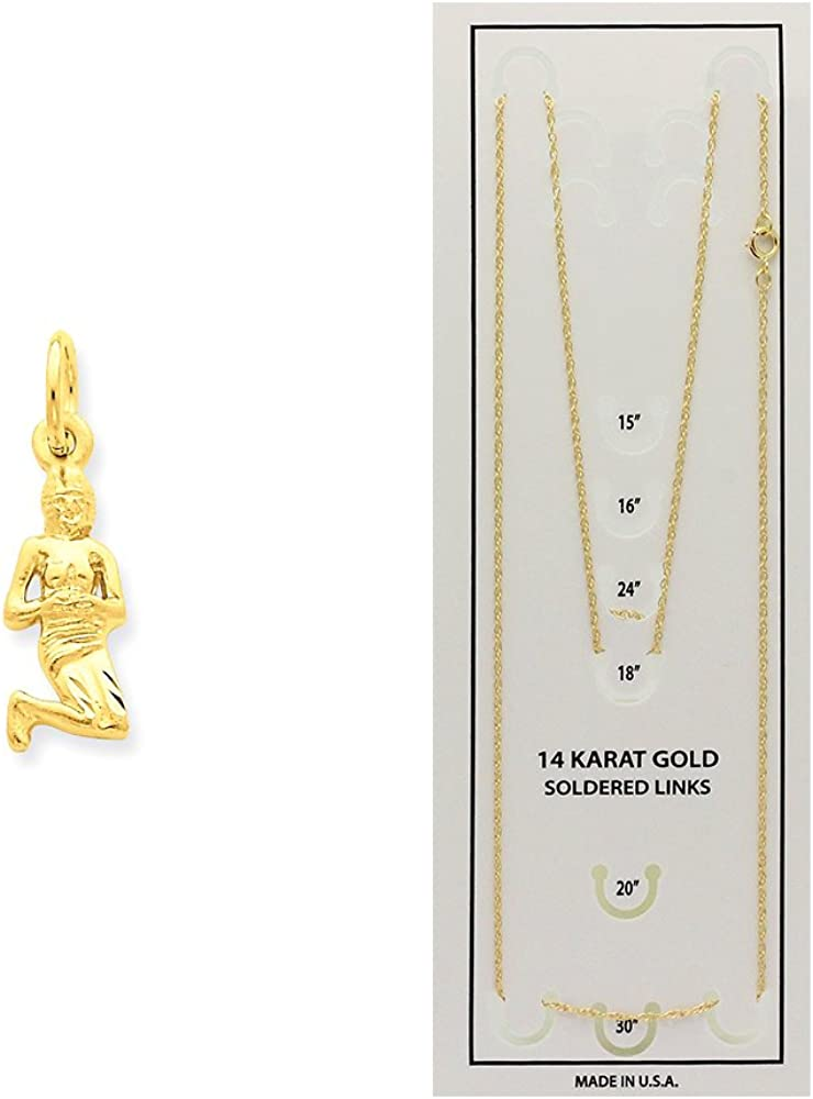 K/&C 14k Yellow Gold Virgo Zodiac Charm on a 14K Yellow Gold Carded Rope Chain Necklace