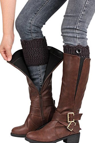 Calentador de la pierna de mujer botón hacer punto calcetines de arranque Darkgrey