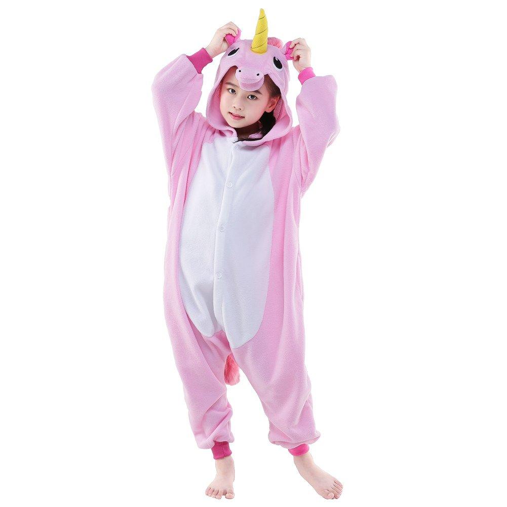 NEWCOSPLAY Unisex Children Unicorn Pyjamas Halloween Costume (10-Height 55-58'', New Pink Unicorn)