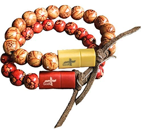 Seek+ Real Wood Bead Charger Bracelet or Keychain for iPhone or IPad in Red or Beige (Red Wood) (Mp3 Player Braclet)