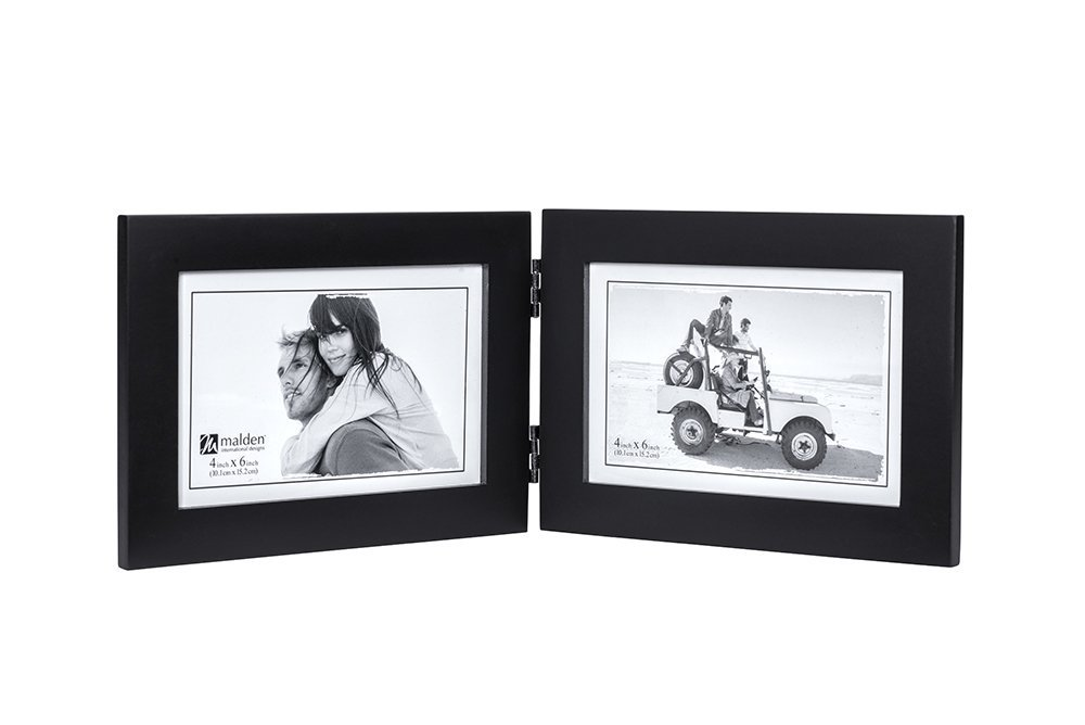 Malden Double Horizontal 4x6 Picture Frame - Wide Real Wood Molding, Real Glass - Black