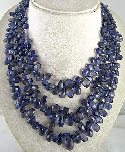 Natural Iolite TEARDROPS Briolette Beads Necklace 17 INCHES 18MM to 10MM by Gemswholesale ()