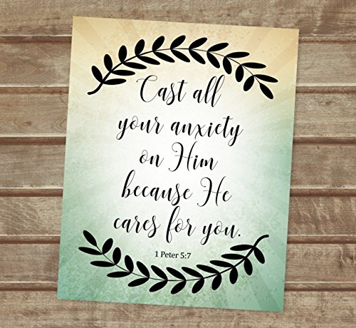 Amazon com: Cast All Your Anxiety On Him, 1 Peter 5:7, Inspirational