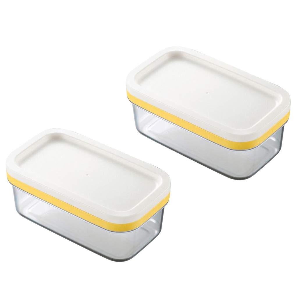 Prettyia プラスチック製バター皿 蓋付き バターキーパー コンテナ 収納 カッター スライサー キッチンの収納や装飾に最適 2個   B07NPJ1QVV