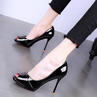 KPHY Bouche De Poisson De 10 Cm De Talon Haut Talon De Chaussures Étanches Mince Table Petite Bouche Nu De Couleur Des Chaussures De Femme Printemps Sexy La Peau Les Chaussures.