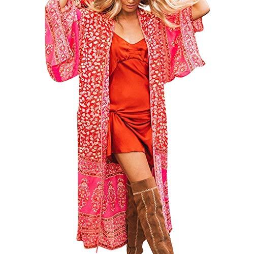 Cardigan Womens Ladies Casual Print Short Sleeve Summer Beach Long -
