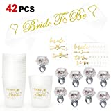 Konsait Bachelorette Party Accessories Wedding Bridal Shower Supplies, She Said Yaaas Drinking Cups,Led Light up Ring,Bachelorette Tattoos,Bride to Be Sashes,Engagement Party Decoration Gift(42pcs)