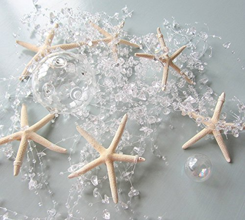 Beach-Decor-Nautical-Beaded-Starfish-Garland-White-Starfish-Decorative-Garland-5FT-BSFG-CLEAR