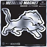 ": Detroit Lions SD 12"" MAGNET METALLIC Silver Style Auto Home Heavy Duty Football"
