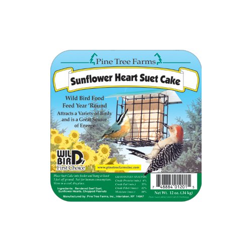 Pine Tree Farms 1201 Sunflower Heart Suet Cake, 12-Ounce
