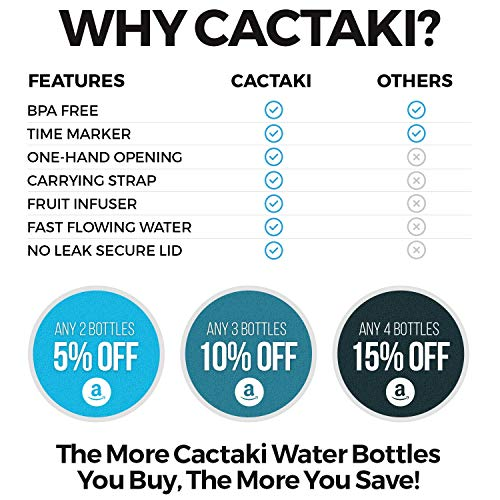 Cactaki 32oz Water Bottle with Time Marker, BPA Free Water Bottle, Non-Toxic, Leakproof, Durable, for Fitness and Outdoor Enthusiasts (Grey)